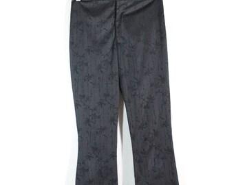 SALE VTG Floral Black Satin Flare Pant