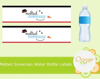 Melted Snowman Water Bottle Labels, Winter Water Bottle Stickers, Christmas Water Bottle Wraps, Waterproof Stickers