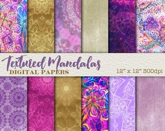 10% OFF SALE Textured Mandala Digital Paper Scrapbook Paper, Commercial Use, 300dpi JPG Images, Backgrounds - Wh001