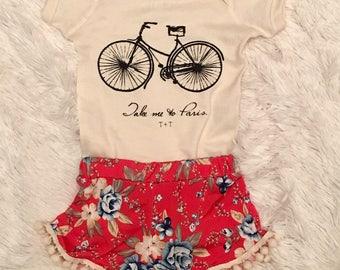 Take Me to Paris with Bicycle Ivory Onesie