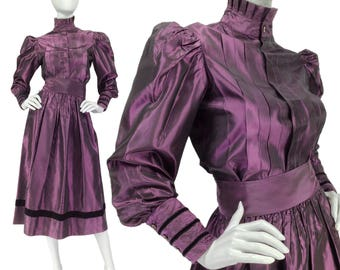 Vintage Clothing, Victorian Style Outfit XS S, Steampunk Outfit, Edwardian, Taffeta Skirt + Blouse, High Neck Blouse, 70s Outfit, SIZE XS S