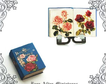 ROSES Dollhouse Miniature Book – 1:12 Rose Miniature Book Flower Miniature Rose Book – Printable Valentines Day Gift Flower Book DOWNLOAD