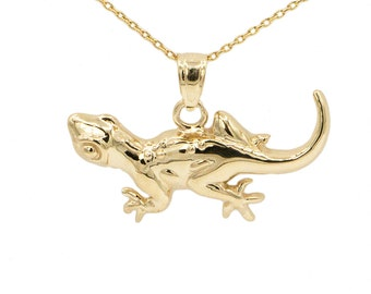 10k Yellow Gold Lizard Necklace