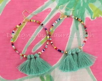 Beaded Tassel Hoop Earrings  AQUA, MULTICOLOR, multicolored, gold, dangle, statement earrings, boho