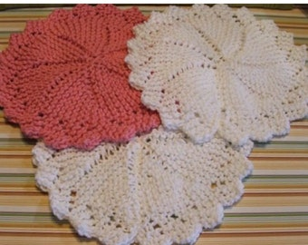 Knitted Round Dishcloths Dish Rags set of 8