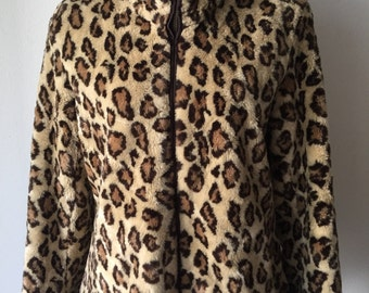 Fashionable Short Vintage Brown & Beige Spotted Faux Fur Coat Reversible Women's Size Medium.