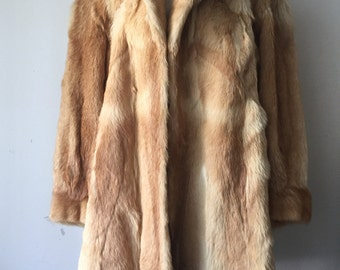 Amazing Long Tan Genuine Red Wolf Fur Coat Big Collar Women's Size Large.