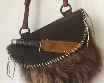 Dark brown women's quare handbag from bison fur and leather with knife, vintage handmade bag for lady's, stylish designer bag, size - medium