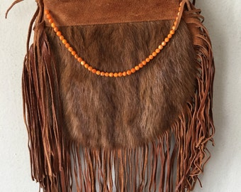 Brown women's bag, real suede with fashionable suede fringe, mink fur, with beads, designer bag, handmade, new collection, size-small.