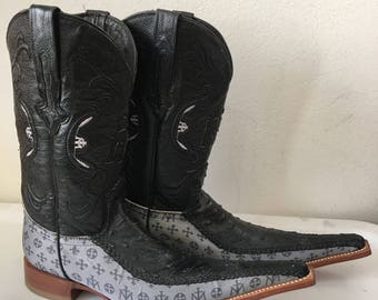 Black & gray men's boots real ostrich leather and textile, genuine leather vintage western cowboy old retro men's size-7 1/2 women's-8 1/2.