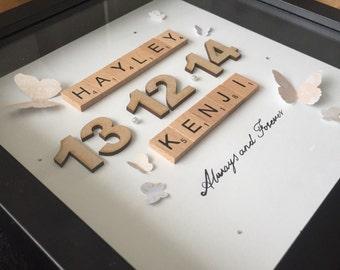 scrabble wall art personalised gift -  couple name frame - 3D scrabble frame - boyfriend / girlfriend present - wedding new home - birthday