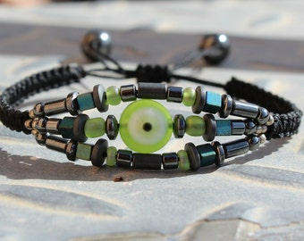 Hematite macrame bracelet.Gemstone bracelet.Evil eye protection bracelet.Boho macrame bracelet.