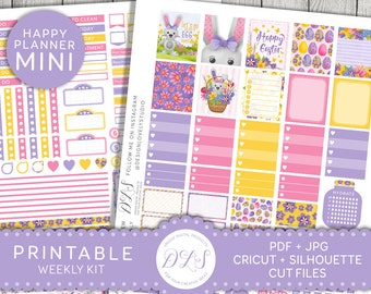 April Mini Happy Planner, Easter Mini Happy Planner Kit, Mambi Easter Stickers, Easter Weekly Kit, Filofax Easter Kit, Stickers PDF, MW106