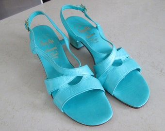 Vintage Turquoise Leather Sandals