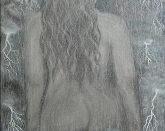 Embrace the Storm-woman-female body-storm-lightning-greyscale-peace-original painting