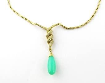 Vintage 18 Karat Yellow Gold Diamond and Australian Jade/ Chrysoprase Necklace #1362