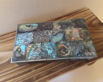 REDUCED..Abalone and silver box