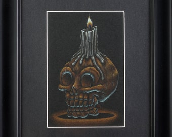 Skull and Candle Original Illustration