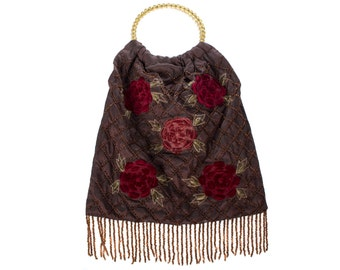 Beaded and velvet floral evening bag