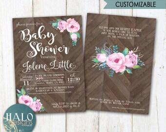 Floral Rustic Baby Shower Invitations, Bridal Shower Invitation, printable