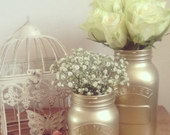 Small Gold Flower Vase Make Up Brush Pot 0.5 Litre Small kilner Mason Jar