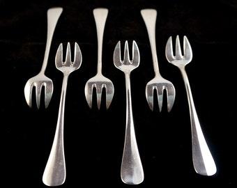 6 SFAM Fine Silverplate Oyster Forks in Baguette Pattern - France early 1900s