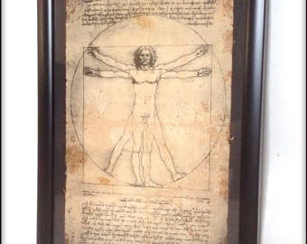 Aged reproduction print of Da Vinci's Vitruvian Man illustration in frame.