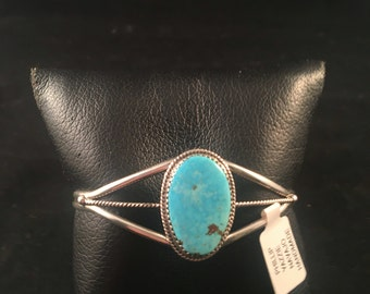 Native American Navajo Blue Ridge Turquoise and Sterling Silver Cuff Bracelet