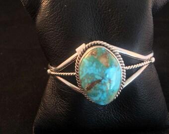 Native American Navajo Kingman Turquoise & Sterling Silver Cuff Bracelet
