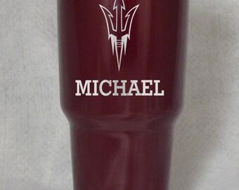 12 20 30 oz Arizona State Sun Devils Yeti custom engraved personalized black maroon or stainless