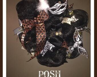 Animal Print Deco Mesh Wreath/Animal/Animal Print/Wreaths/Wreath/Deco Mesh Wreath/Handmade