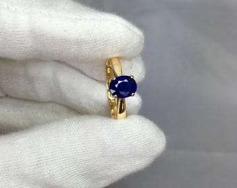 NATURAL Untreated Blue Sapphire Solitaire Ring 18k 1.31ct Oval Cut GIA CERTIFIED