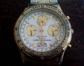 RADIANT ALARM CHRONOGRAPH Wrist Watch, Radiant Japan Chronograph Quartz Wristwatch, Radiant, Radiant Chronograph, Chronograph Wristwatch