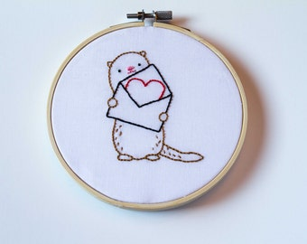 Otter with Love Note Hand Embroidery Hoop Art, Heart