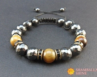 Elegant bracelet Black brown bracelet Unisex Bracelet Mens stone bracelets Protection bracelet Mens jewelry Mens fashion Hematite bracelet