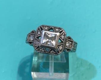 Size 7, vintage Sterling silver engagement ring, solid 925 silver with Swarovski crystal, stamped 925, signed SEYA