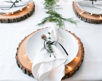 """14"""" Set of 15! Wood centerpieces, wood slices for sale, rustic wedding decor, wood slabs for sale, wood slice centerpieces."""