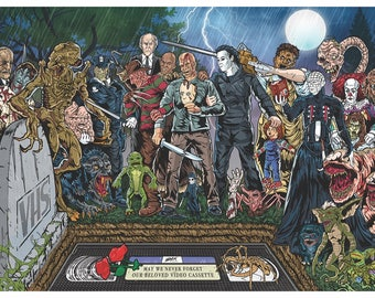 The Death of VHS Horror Illustration Poster Print