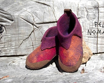 Felted Shoes with Leather Sole