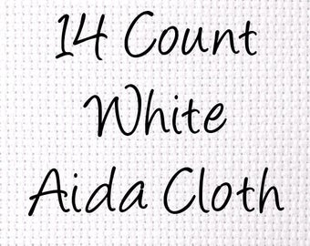 Aida 14 Count Cross Stitch Cloth White - Choose Your Size 15 X 18 In. 20 X 24 In. 20 X 36 In. 36 X 36 In. 58 X 72 In. 58 X 108 In.