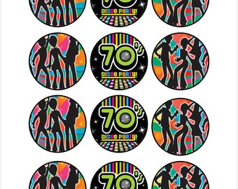 Edible 70's Disco Party Cupcake Cookie Toppers