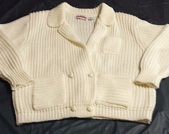 Vtg Sterling Harris Womens sz L sweater ivory chunky knit cardigan old man bulky double breasted