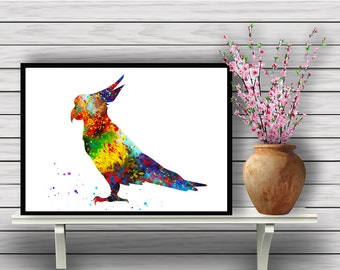 Parrot, Tropical Bird Watercolor, Animal, Colorful Bird, Room Decor, Home Decoration, gift, Instant Download (351)
