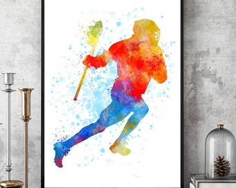 Lacrosse Gifts Print, Lacrosse Player, Watercolour Prints, Sports Decor, Lacrosse Wall Art, Kids Gift, Team Player (N001)