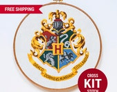 Hogwarts Cross Stitch KIT, Harry Potter Cross Stitch Kit, Hogwarts Crest Cross Stitch Kit, Modern Counted Cross Stitch Pattern Instructions