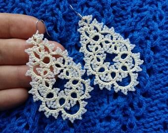 tatting jewelry  Jewellery  Earrings  Chandelier Earrings  gift for her  lace jewelry  bridesmaid earrings  Lightweight earrings