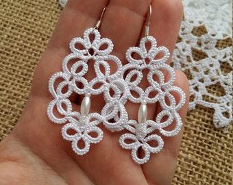 """tatting jewelry  """"Victoria"""" lace earrings, mystery Jewellery Earrings gift for her lace jewelry bridesmaid earrings Lightweight earrings"""