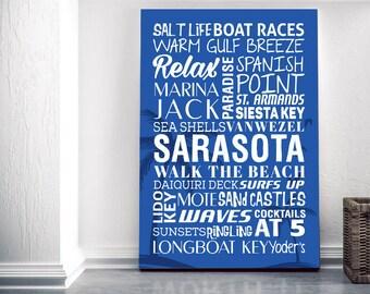 Sarasota Florida Themed Canvas