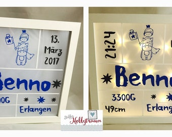illuminated picture frames, baptism, baby, birth, bright-line frame, Prinzenjunge