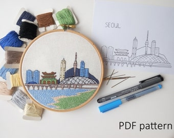 Seoul Hand Embroidery pattern PDF. Embroidery Hoop art, Wall Decor, Housewarming Gift. Free Hand embroidery guide!